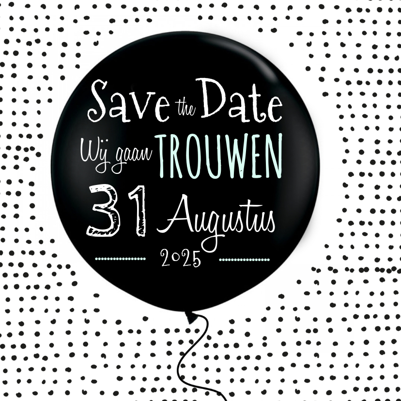 Trouwkaarten - Save the Date ballon