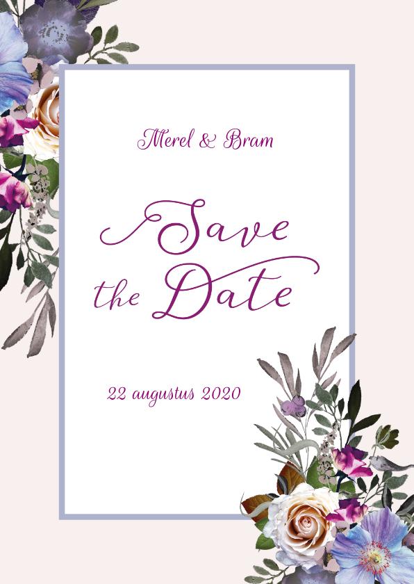 Trouwkaarten - Save the Date bohemian chique blauwe anemoon
