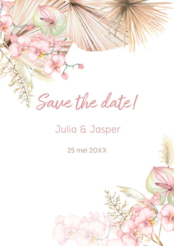 Trouwkaarten - Save the date droogbloemen orchidee