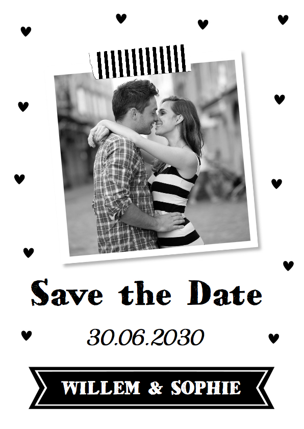 Trouwkaarten - Save the Date foto hartjes zwart wit