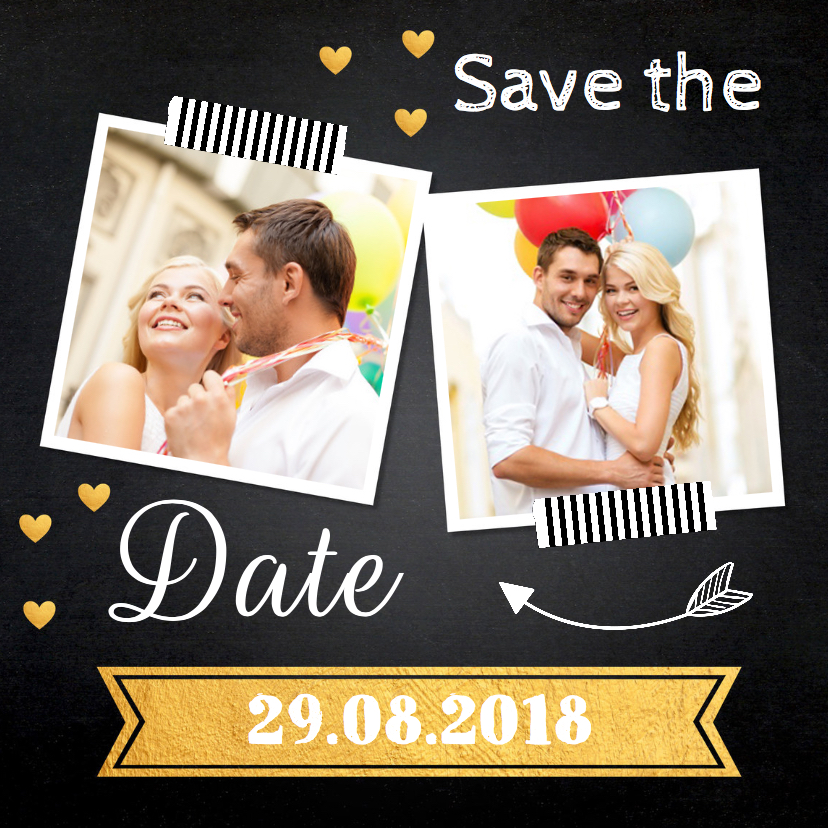 Trouwkaarten - Save the Date foto krijtbord hartjes goud