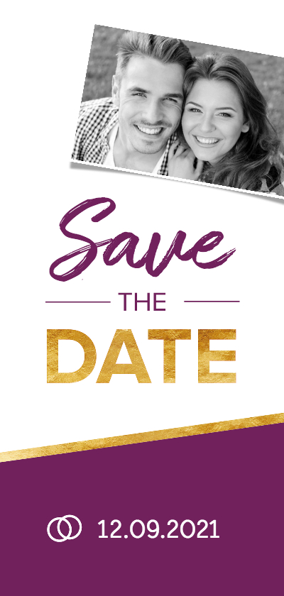 Trouwkaarten - Save the date foto met paars en goud