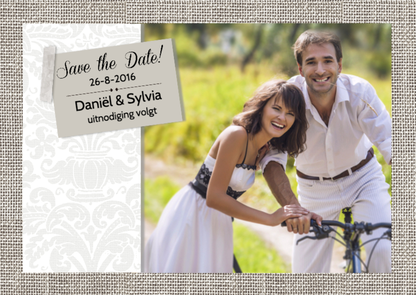 Trouwkaarten - Save the Date foto op linnen