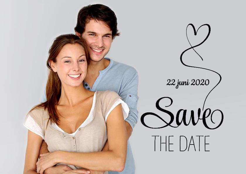 Trouwkaarten - Save the Date foto tekst zw - SG
