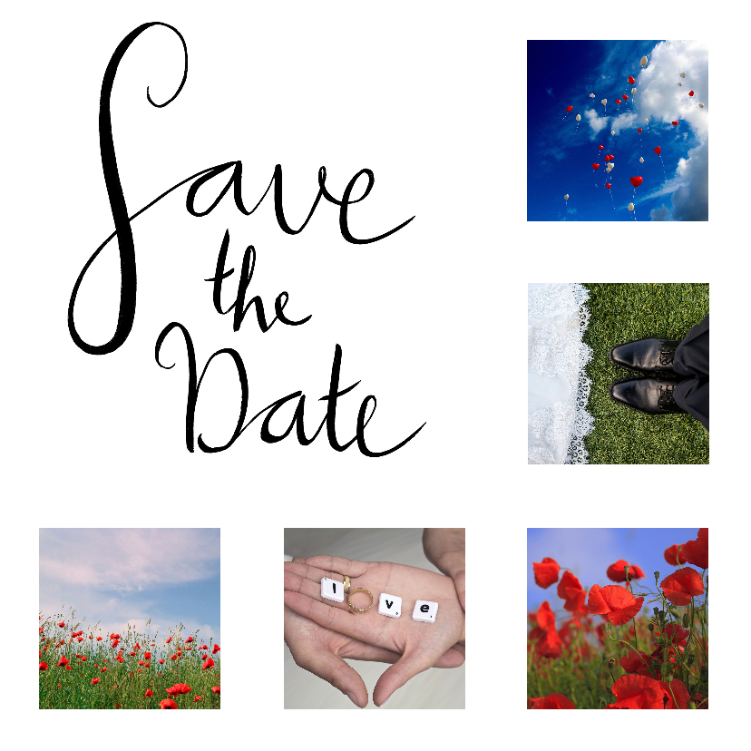 Trouwkaarten - Save the date fotocollage handlettering