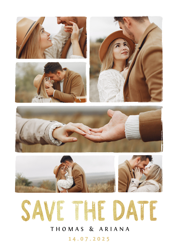 Trouwkaarten - Save the date fotocollage trouwkaart met gouden tekst