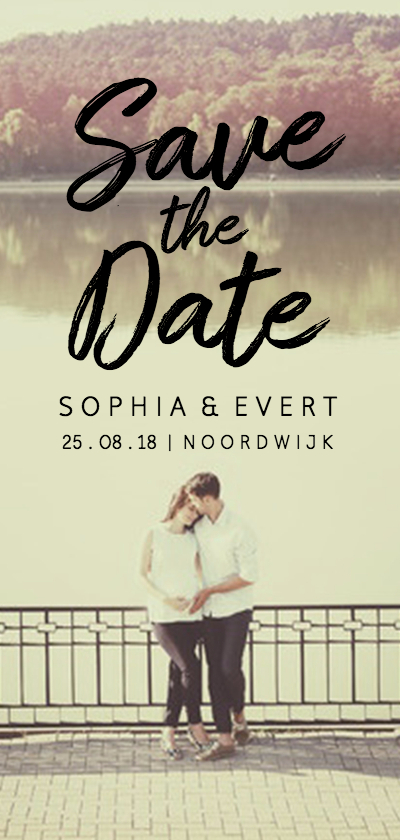 Trouwkaarten - Save the Date fotokaart streep