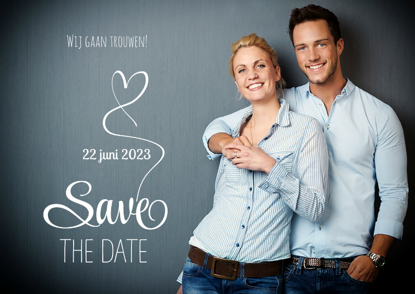 Trouwkaarten - Save the Date fotokaart wit