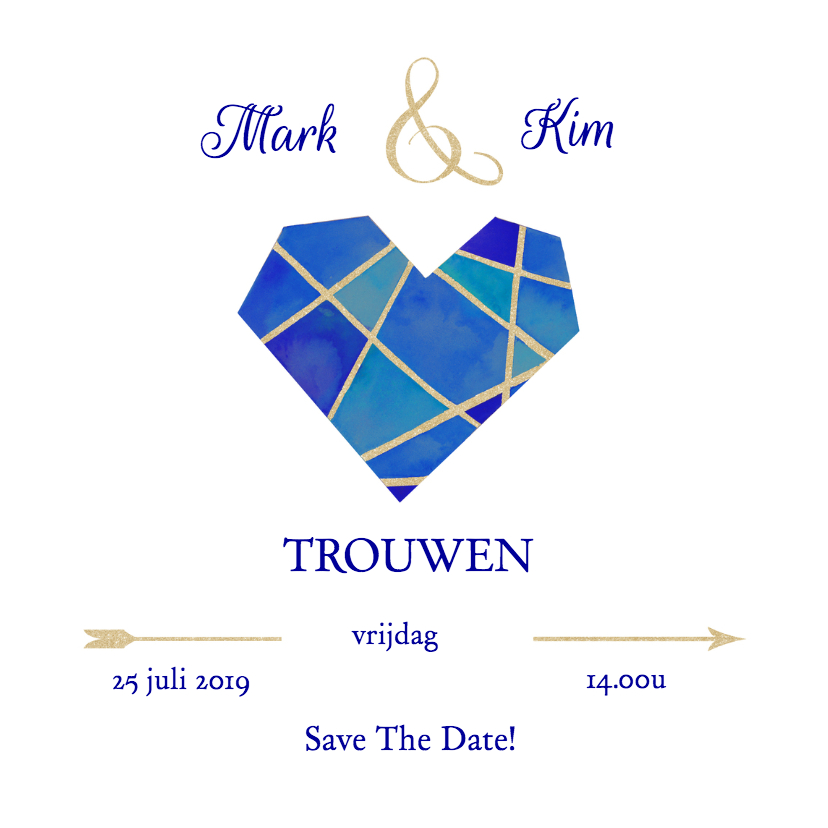 Trouwkaarten - Save the date hart blauw