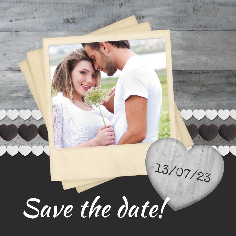 Trouwkaarten - Save the date Hout Grijs 1LS3