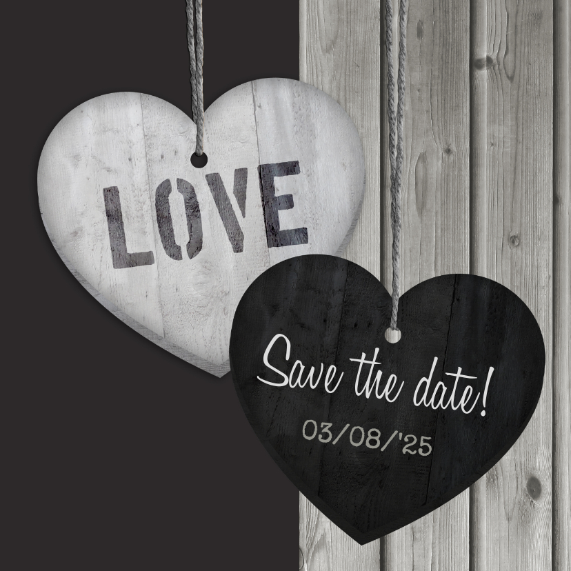 Trouwkaarten - Save the date Hout Hart hangers