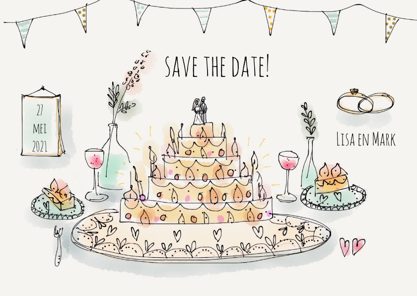 Trouwkaarten - Save the Date Illustratie