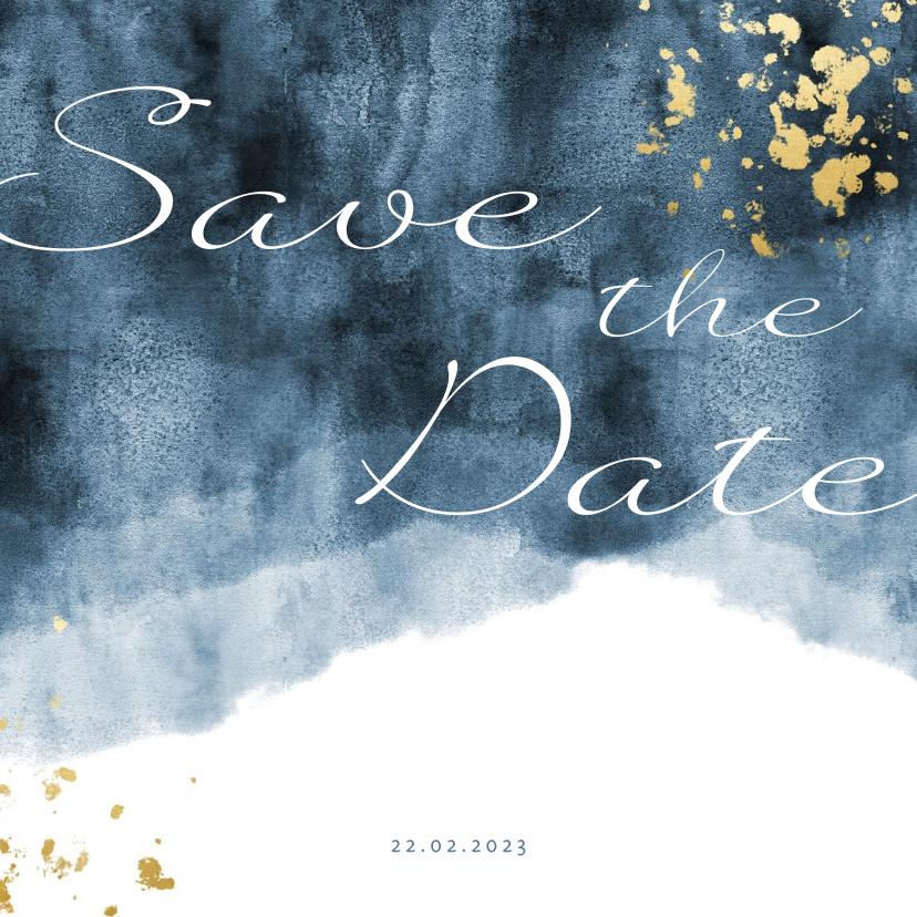 Trouwkaarten - Save the date kaart blauwe waterverf gouden spetters