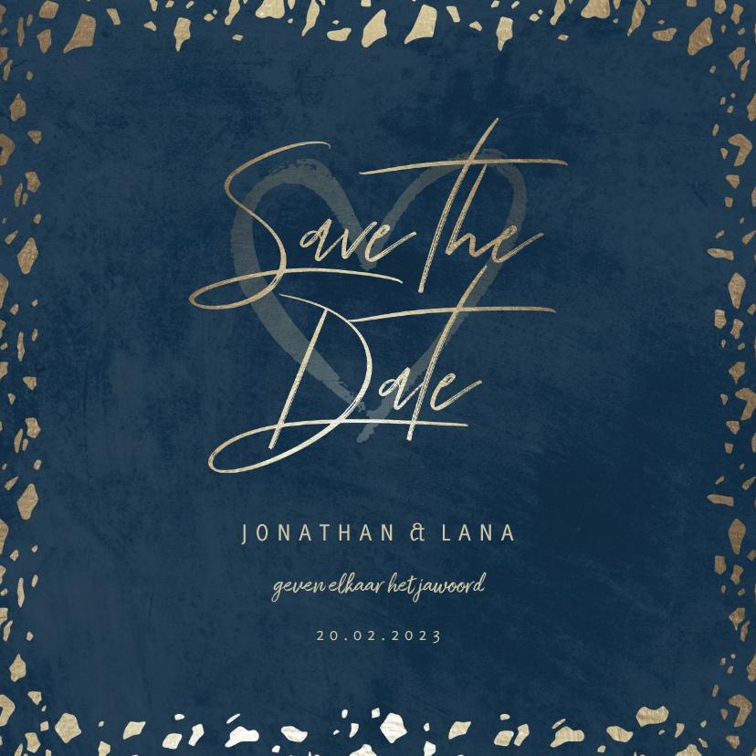 Trouwkaarten - Save the date kaart donkerblauw met terrazzo patroon