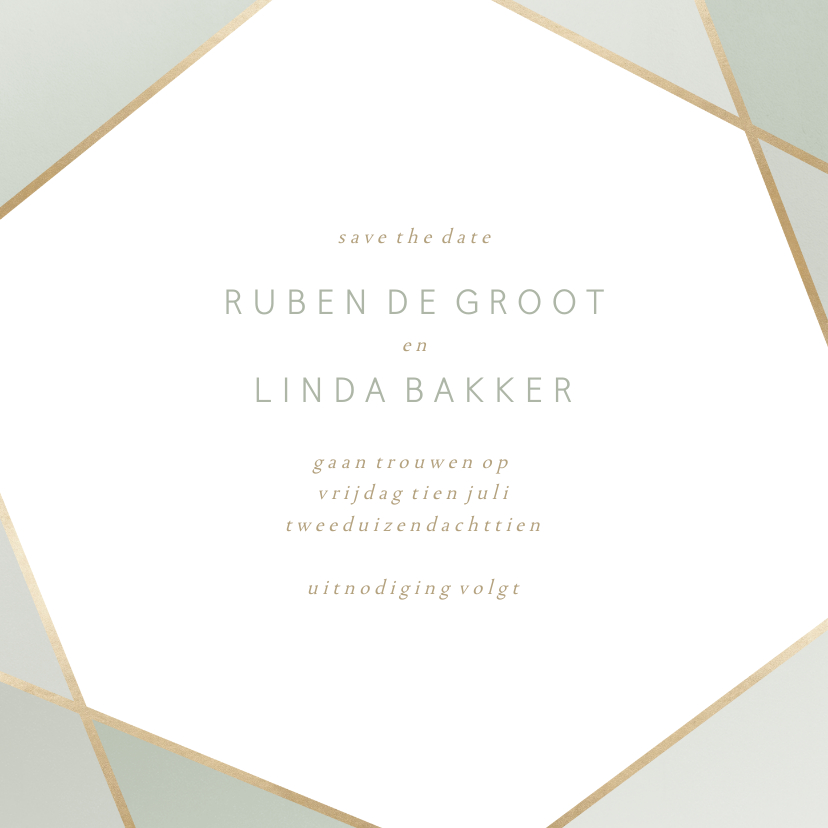 Trouwkaarten - Save the date kaart geometrisch patroon groen