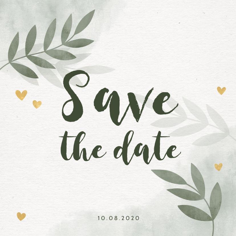 Trouwkaarten - Save the date kaart groen waterverf takjes gouden hartjes