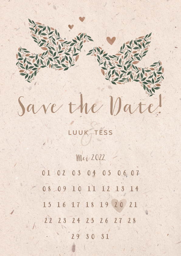 Trouwkaarten - Save the Date kaart kraftlook met duiven van bloemen