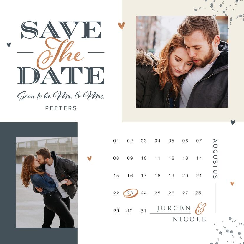 Trouwkaarten - Save the date kaart met kalender grafisch modern foto