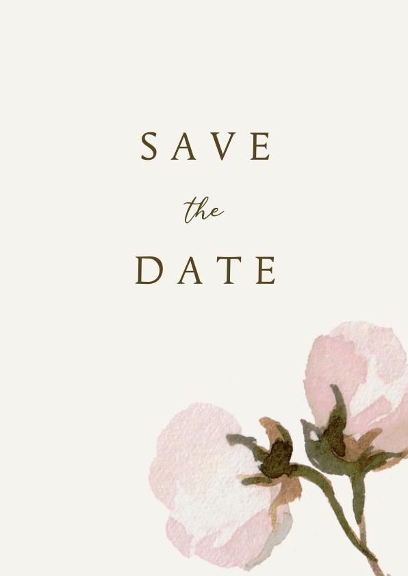 Trouwkaarten - Save the date kaart met roze bloemen en ruimte voor een foto
