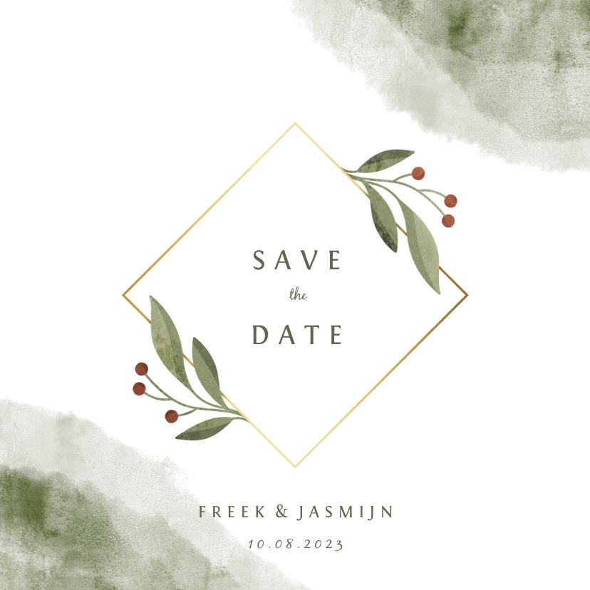 Trouwkaarten - Save the date kaart met waterverf en botanisch gouden kader