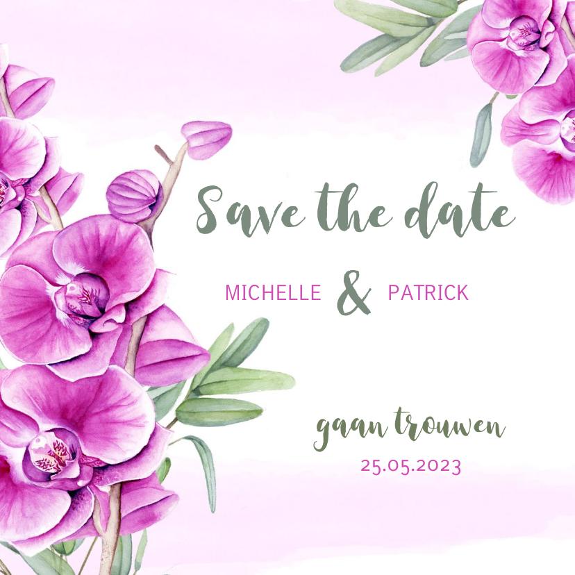 Trouwkaarten - Save the Date kaart orchidee