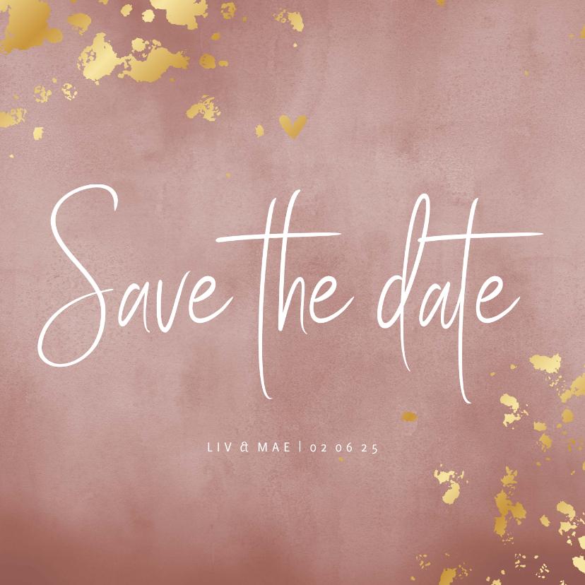 Trouwkaarten - Save the date kaart oud roze waterverf gouden spetters