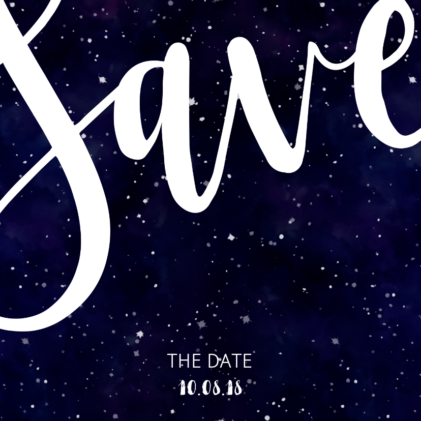 Trouwkaarten - Save the date kaart 'SAVE' Galaxy