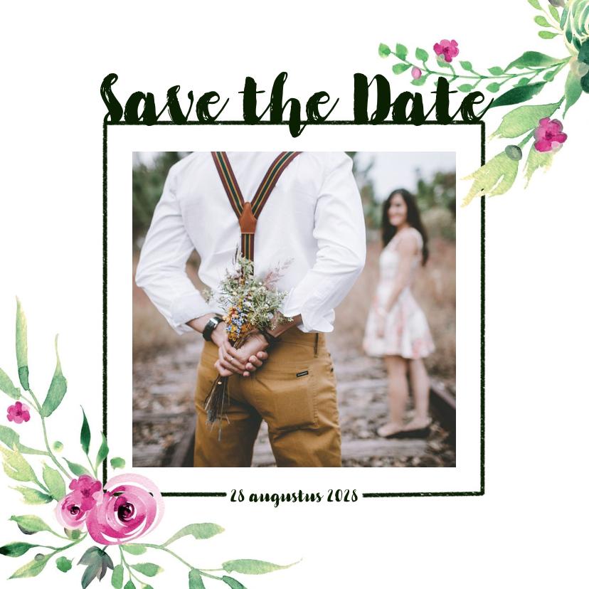 Trouwkaarten - Save the Date kaart Stijlvol wit met bloemen