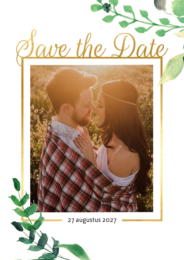 Trouwkaarten - Save the Date kaart Stijlvol wit met goud