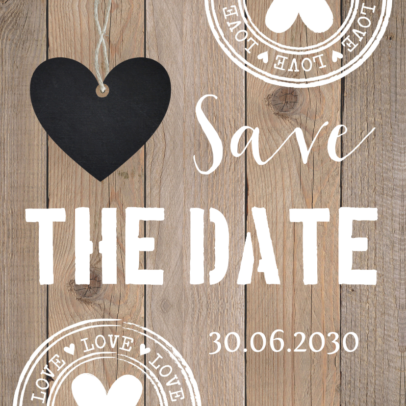 Trouwkaarten - Save the Date kaart typografie hartje houtlook