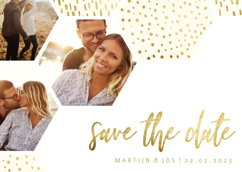 Trouwkaarten - Save the date kaart zeshoek fotocollage met gouden confetti