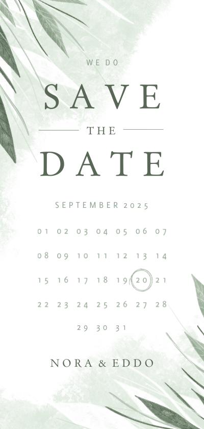 Trouwkaarten - Save the date kalender jungle bladeren met waterverf