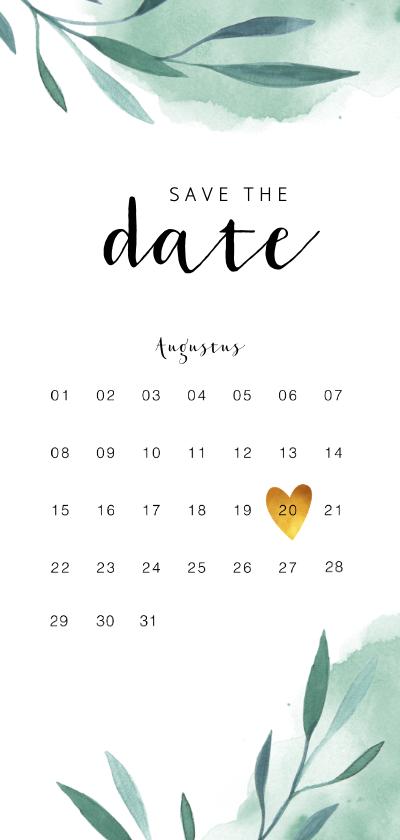 Trouwkaarten - Save the date kalender kaart met waterverf en blaadjes