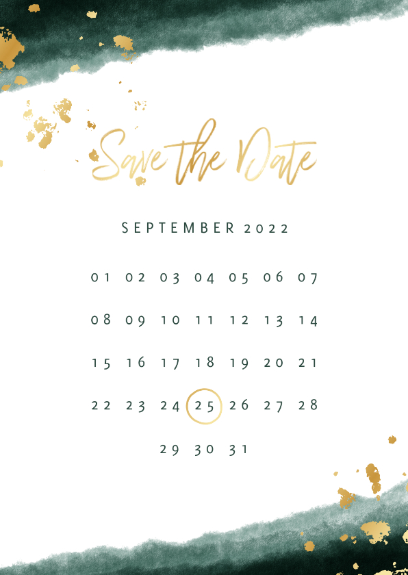 Trouwkaarten - Save the date kalender waterverf gouden tekst