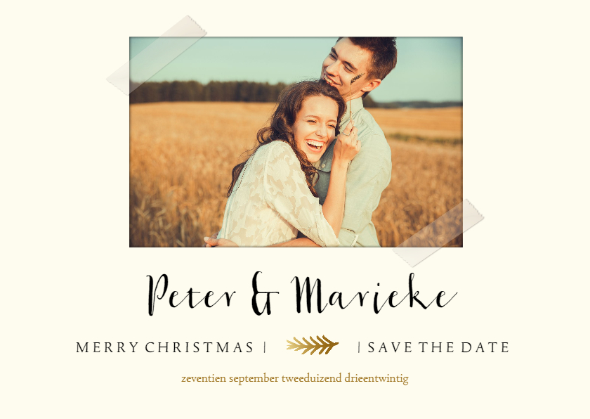 Trouwkaarten - Save the date kerstkaart met foto en gouden takje