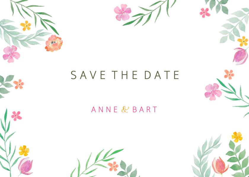 Trouwkaarten - Save the date kleurrijk botanisch