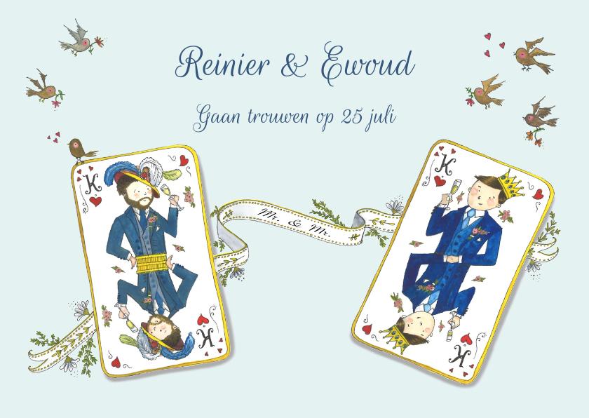 Trouwkaarten - Save the date koning & koning