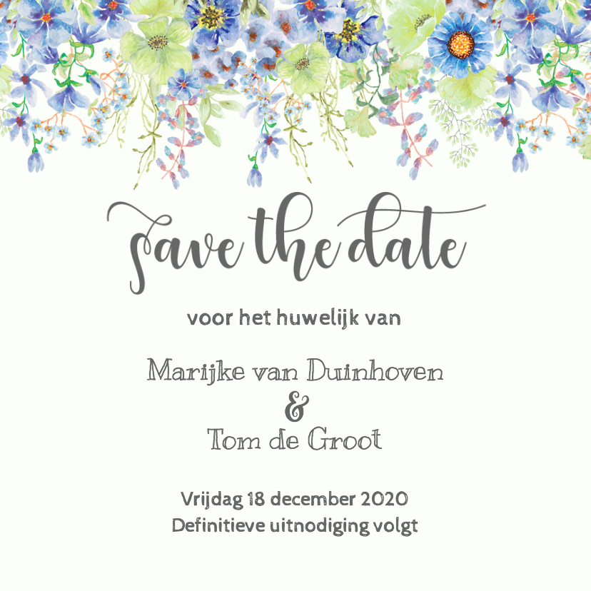 Trouwkaarten - Save the date lentebloemen