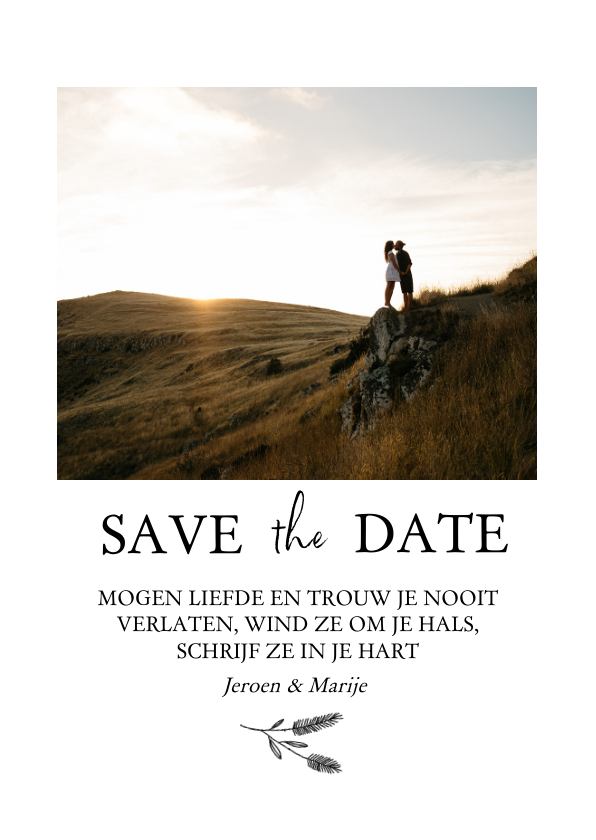 Trouwkaarten - Save the date met foto, bijbeltekst en takje