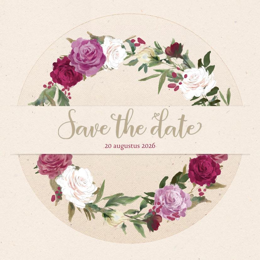 Trouwkaarten - Save the date met rozenkrans