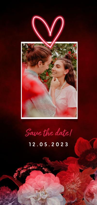 Trouwkaarten - Save the date neon bloemen en foto