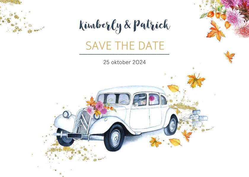 Trouwkaarten - Save the date oldtimer herfst