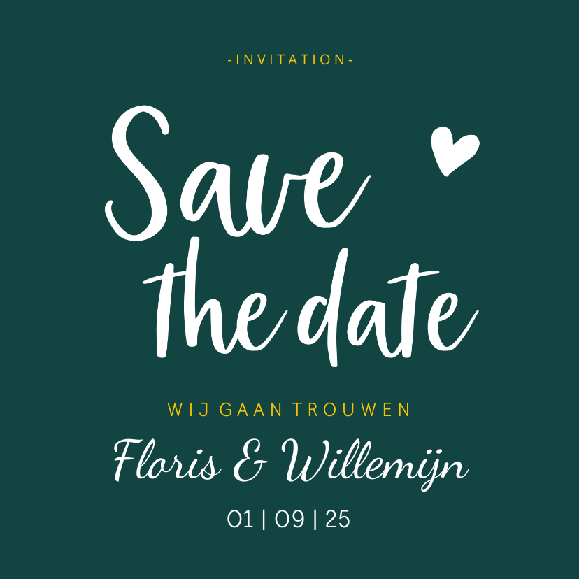 Trouwkaarten - Save the date - stijlvol met namen