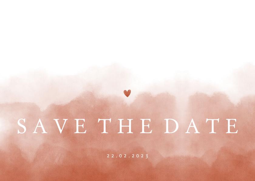 Trouwkaarten - Save the date stijlvol terra roze waterverf met hartje