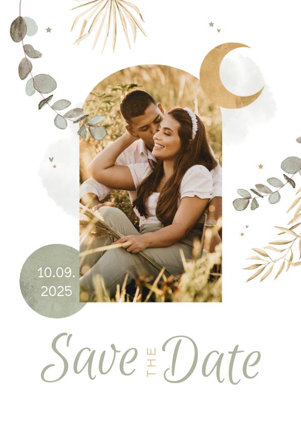 Trouwkaarten - Save the date trouwkaart Arabisch eucalyptus maan goud foto