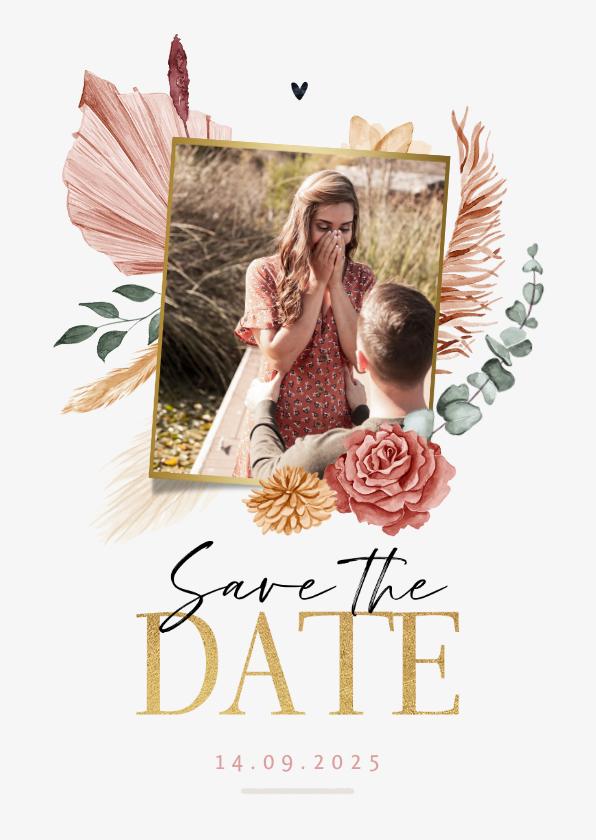 Trouwkaarten - Save the date trouwkaart droogbloemen bohemian stijlvol foto