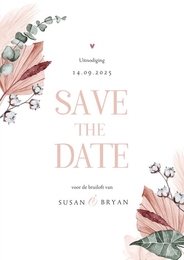 Trouwkaarten - Save the date trouwkaart droogbloemen stijlvol klassiek foto