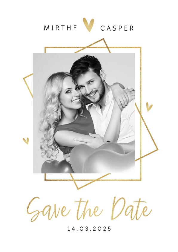 Trouwkaarten - Save the date trouwkaart goud stijlvol modern grafisch hart