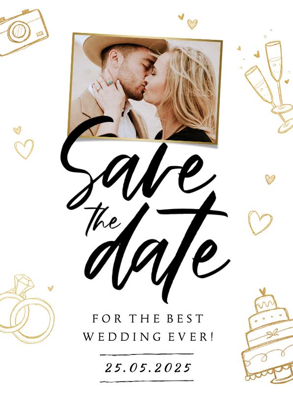 Trouwkaarten - Save the date trouwkaart hip stijlvol goud foto