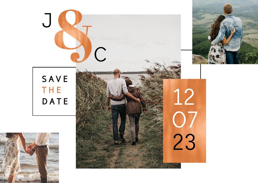Trouwkaarten - Save the date trouwkaart koper stijlvol modern fotokaart